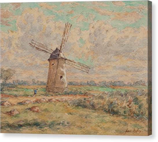 Blade Of Grass Canvas Print - Windmill Of Artois by Henri Duhem