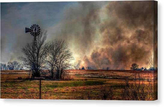 Windmill On A Burning Field Canvas Print
