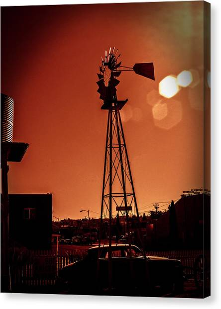 Canvas Print featuring the photograph Windmill On Route66 by William Havle