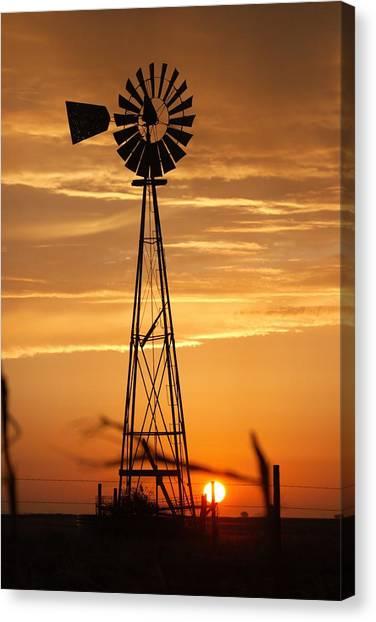 Windmill On The Prairie Canvas Print