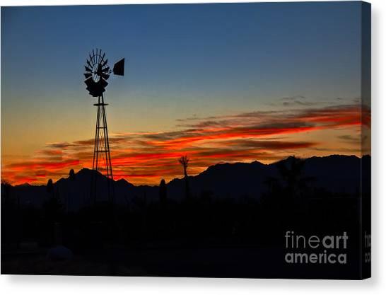 Desert Sunrises Canvas Print - Windmill Silhouette by Robert Bales
