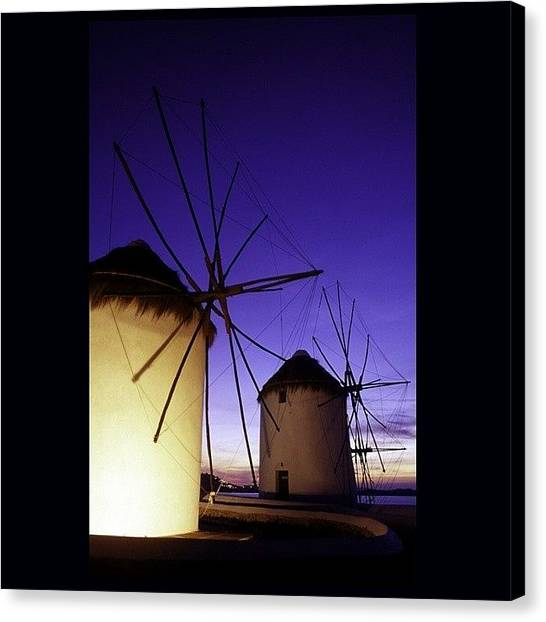 Harbors Canvas Print - Windmills At Mykonos by Steve Outram