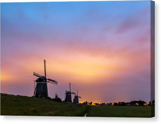 Windmills At Dawn Canvas Print