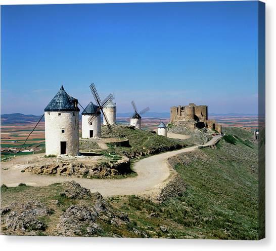 Windmills At La Mancha, Spain Canvas Print