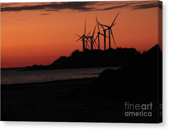Windmills At Sunset Canvas Print