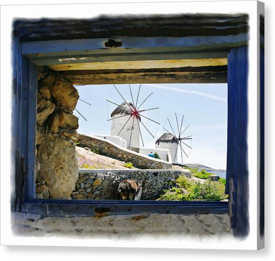 Windmills Through The Window Canvas Print by Leanne Vorrias