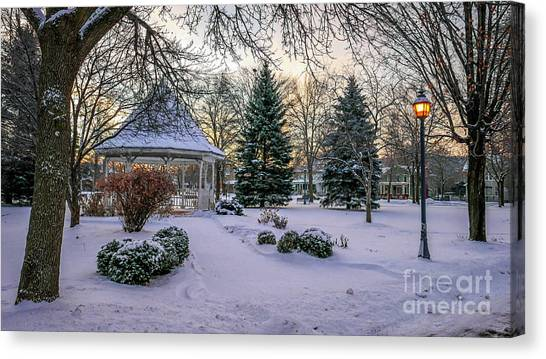 Canvas Print featuring the photograph Windom Gazebo With Lamp by Kari Yearous