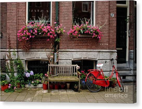 Window Box Bicycle And Bench  -- Amsterdam Canvas Print