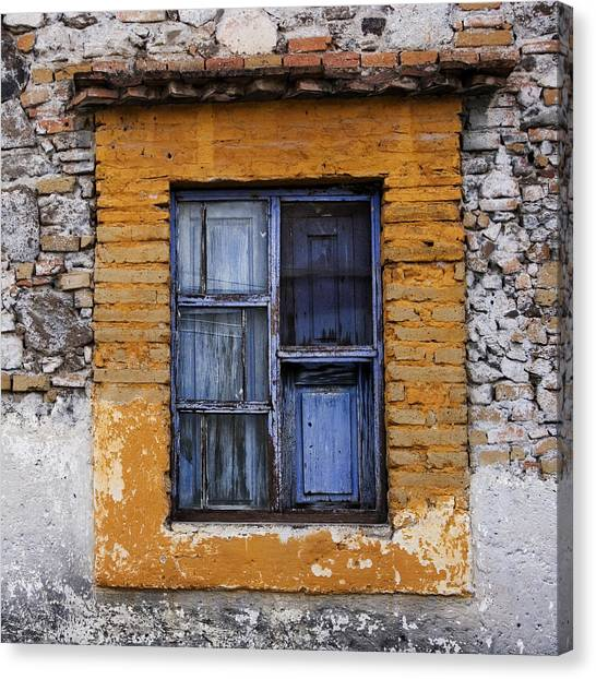 San Miguel De Allende Canvas Print - Window Detail Mexico Square by Carol Leigh