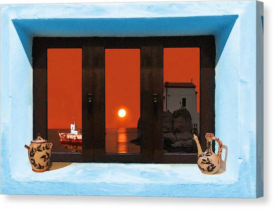Canvas Print featuring the photograph Window Into Greece 4 by Eric Kempson