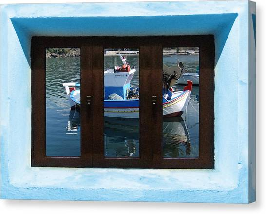 Canvas Print featuring the digital art Window Into Greece  by Eric Kempson