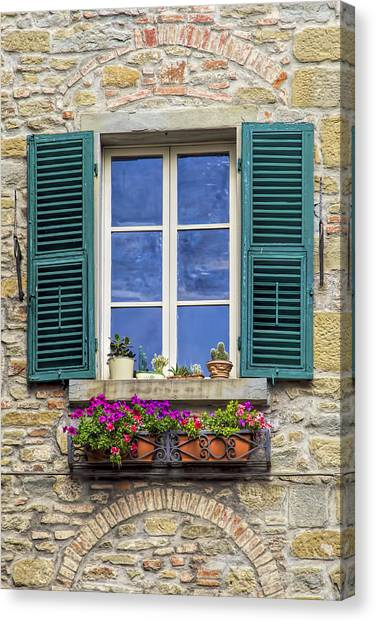 Window Of Tuscany With Green Wood Shutters Canvas Print