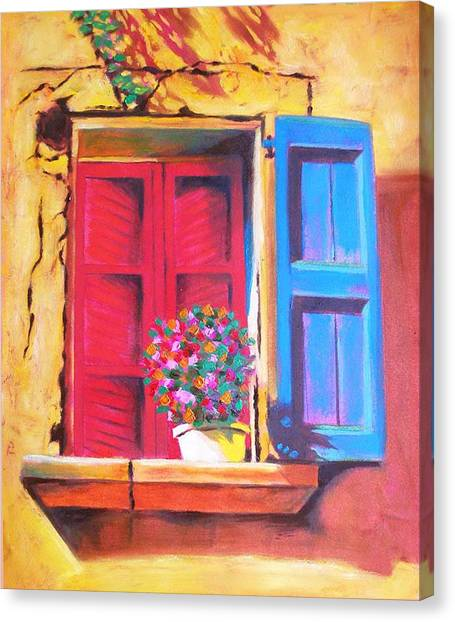 Window On The Rue In Roussillon France Canvas Print by Susi Franco