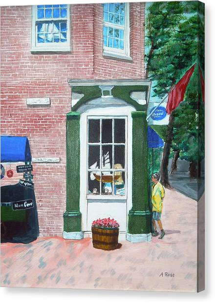 Window Shopping Newburyport Canvas Print by Anthony Ross