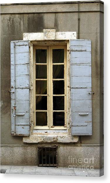 Window Shutters In Europe Canvas Print