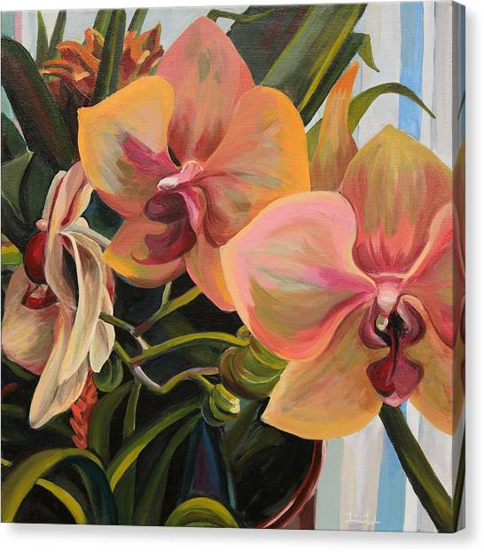 Windowsill Orchids Canvas Print