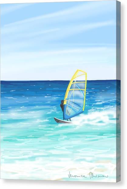 Waves Canvas Print - Windsurf by Veronica Minozzi