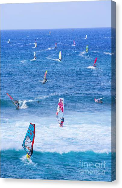 Watersports Canvas Print - Windsurfers On Maui by Diane Diederich