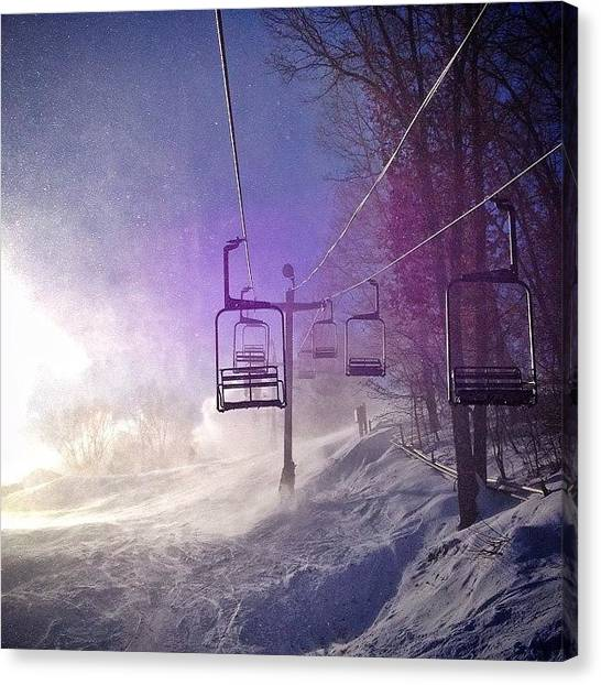 Snowboarding Canvas Print - Windy. #aftonalps #minnesota by Mike S