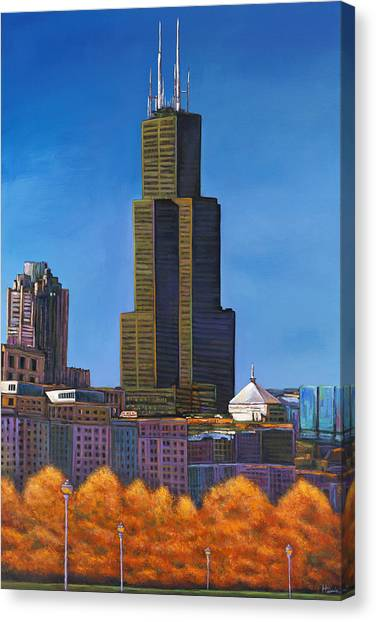 Sky Line Canvas Print - Windy City Autumn by Johnathan Harris