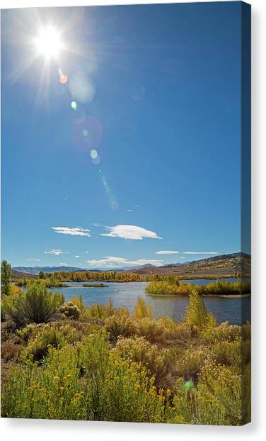 Windy Gap Reservoir Canvas Print by Jim West/science Photo Library