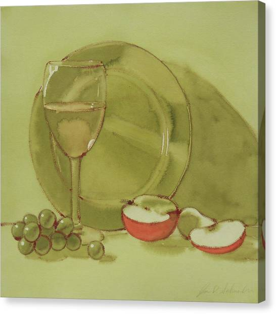 Wine And Apple Canvas Print