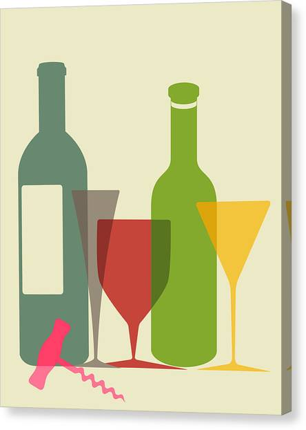 Wine Canvas Print - Wine And Dine by Ramneek Narang