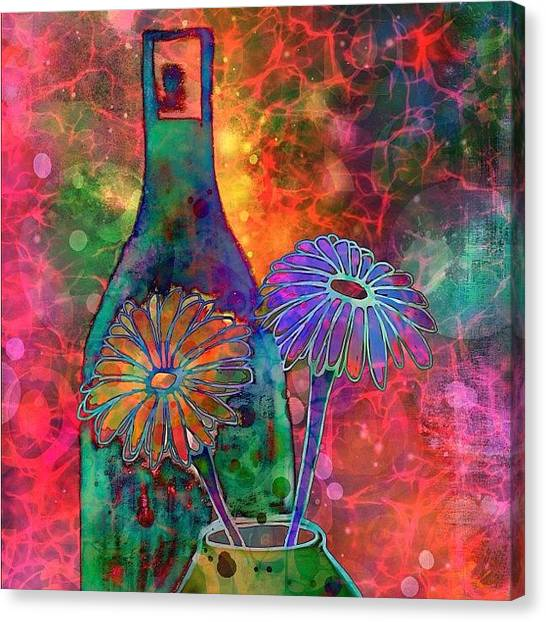 Robins Canvas Print - Wine And Flowers #ipadart Just Playin by Robin Mead