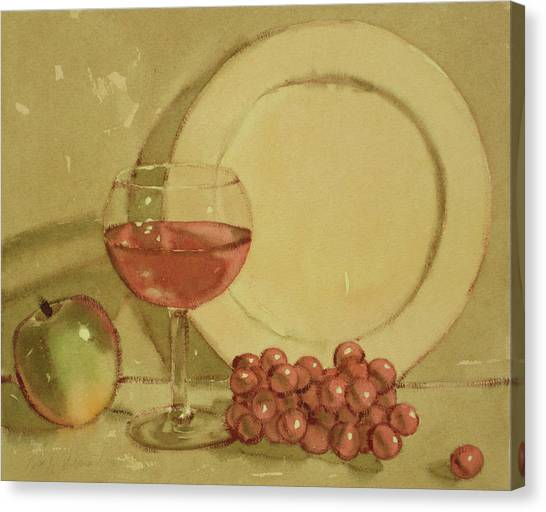 Wine And Plate Canvas Print