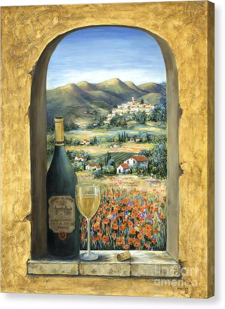 Wine Art Canvas Print - Wine And Poppies by Marilyn Dunlap