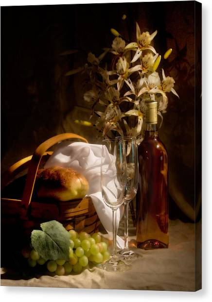 Fruit Baskets Canvas Print - Wine And Romance by Tom Mc Nemar