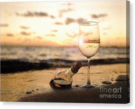 Beach Sunsets Canvas Print - Wine And Sunset by Jon Neidert