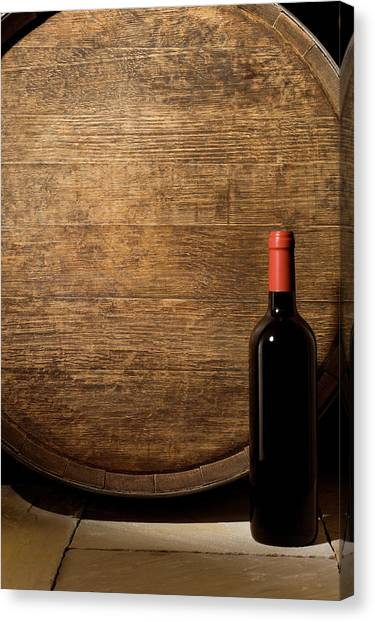 Wine Barrel And Bottle Canvas Print