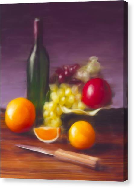 Wine Bottle And Fruit Canvas Print