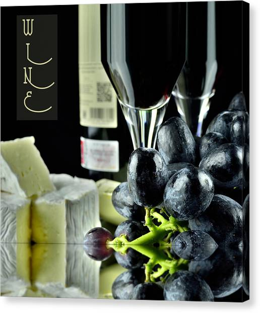 Wine Bottle With Glass Canvas Print