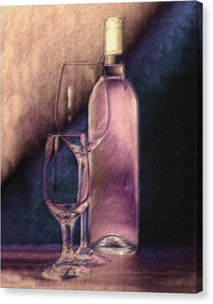 Pour Canvas Print - Wine Bottle With Glasses by Tom Mc Nemar