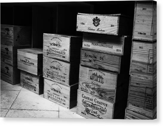 Images For Packaging Canvas Print - Wine Boxes Black And White by Georgia Fowler