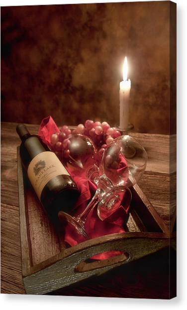 Alcohol Canvas Print - Wine By Candle Light I by Tom Mc Nemar