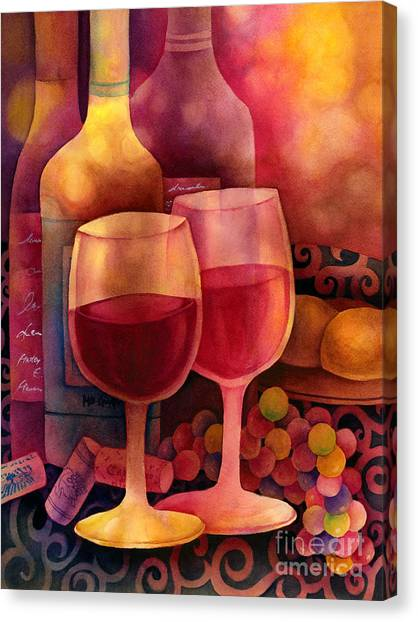 Dinner Table Canvas Print - Wine For Two by Hailey E Herrera