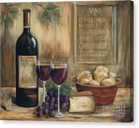 Red Wine Canvas Print - Wine For Two by Marilyn Dunlap