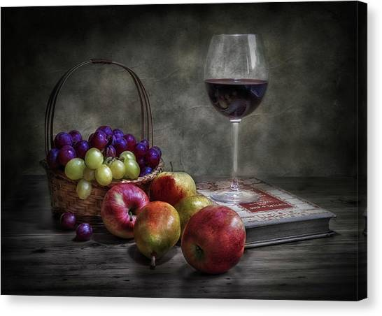 Basket Canvas Print - Wine, Fruit And Reading. by Fran Osuna