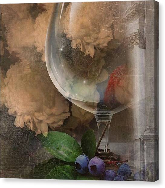 Wine Canvas Print - Wine Glass And Flowers by Georgiana Romanovna