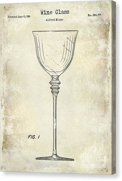 Wine Country Canvas Print - Wine Glass Patent Drawing by Jon Neidert