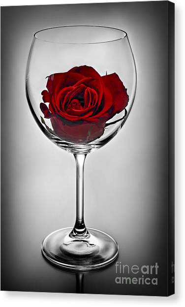 Red Wine Canvas Print - Wine Glass With Rose by Elena Elisseeva