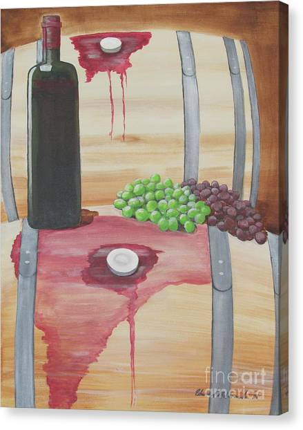 Wine N Grapes Canvas Print