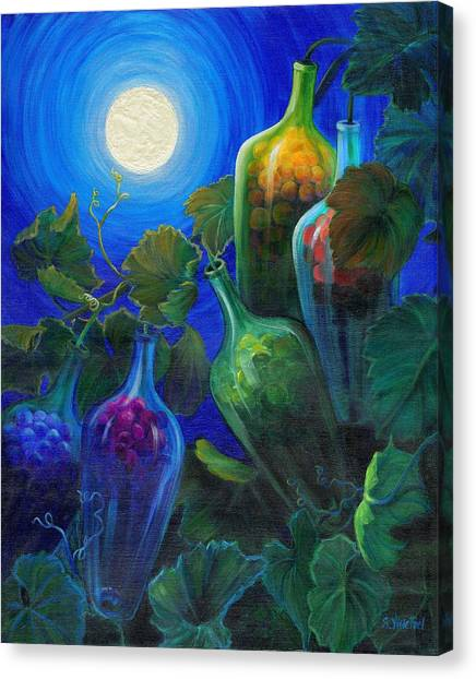 Canvas Print featuring the painting Wine On The Vine by Sandi Whetzel