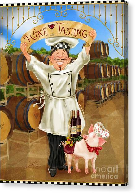 Wine Tasting Chef Canvas Print