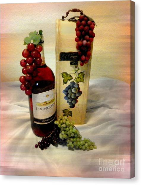 Wine To Be Enjoyed Canvas Print by Carol Grenier