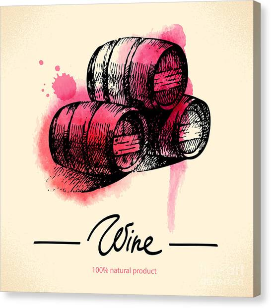 Winery Canvas Print - Wine Vintage Background. Watercolor by Pimlena