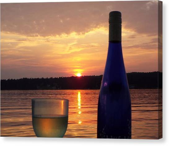 Wine Water Sunset Canvas Print